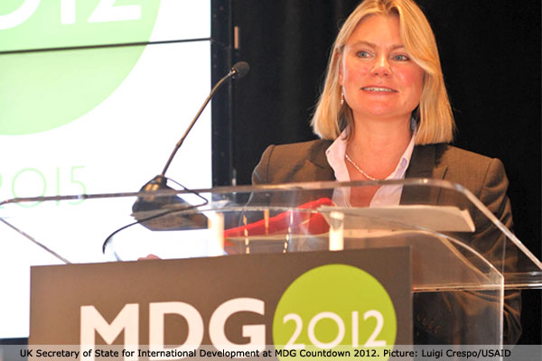 UK Secretary of State Justine Greening speaking at the MDG Countdown 2012 event in New York.